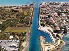 Aerial view of Potidea sea canal in Greece